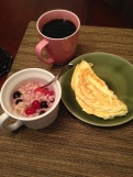 1 egg, 4 whites 1/2 cup oatmeal with berries and cinnamon